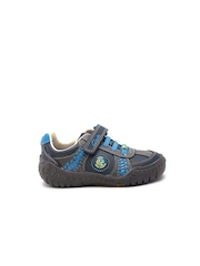 Clarks Boys Navy Blue & Grey Printed Leather Sneakers