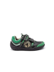 Clarks Boys Black & Green Light-Up Leather Sneakers