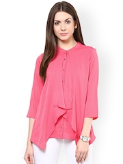 RARE Pink Georgette Layered Top with Cut-Out Detail