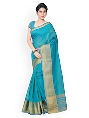 Inddus Teal Green Banarasi Art Silk Traditional Saree