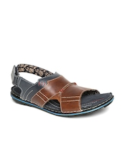 Red Tape Men Brown & Teal Blue Leather Sandals