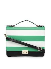 Caprese Black & Green Striped Satchel