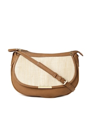 Caprese Tan Brown & Beige Bara Jute Sling Bag