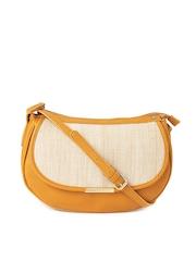 Caprese Mustard Yellow & Beige Bara Jute Sling Bag