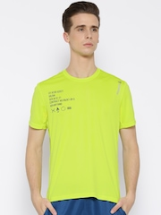 Reebok Lime Green & Black OTR Printed Polyester Running T-shirt