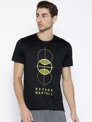 Reebok Classic Black PMP BAL GR Polyester Printed Basketball T-shirt