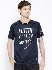 Reebok Navy PMPBAL Polyester Printed Basketball T-shirt