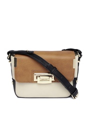 Accessorize Beige & Brown Colourblocked Sling Bag