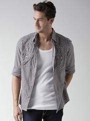 Celio Navy & White Checked Casual Shirt