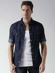 Celio Navy Slim Denim Shirt
