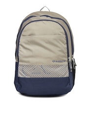 Aristocrat Unisex Beige & Navy Backpack
