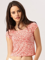 DressBerry Women Cream-Coloured & Coral Orange Printed Crop Top