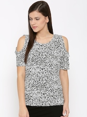 DressBerry Women Black Printed Cold Shoulder Top