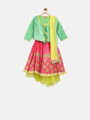 BIBA Girls Pink & Beige Lehenga Choli with Dupatta & Jacket