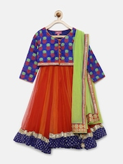 BIBA Girls Blue & Orange Lehenga Choli with Dupatta