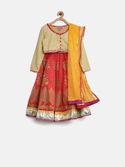 BIBA Girls Red & Beige Lehenga Choli with Dupatta