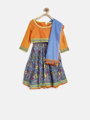 BIBA Girls Bue & Orange Printed Lehenga Choli with Dupatta