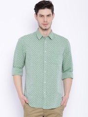 Indian Terrain Green Linen Printed Slim Fit Casual Shirt