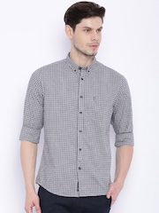 Indian Terrain Grey Checked Chiseled Fit Casual Shirt