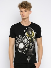 Iron Man Men Black Printed Round Neck T-Shirt