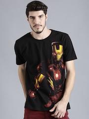 Iron Man Black Printed Round Neck T-Shirt