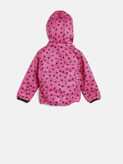 612 league Girls Pink Hooded Printed Bomber Jacket
