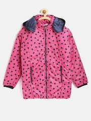 612 League Girls Pink Heart Print Quilted Jacket with Detachable Hood