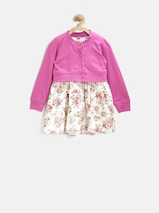 612 League Girls Off-White & Pink Floral Print Fit & Flare Dress with Cardigan