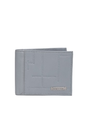 United Colors of Benetton Men Grey Genuine Leather Engraved Wallet
