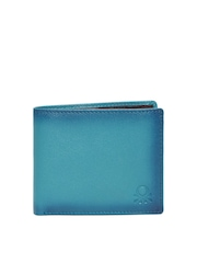 United Colors of Benetton Men Teal Green Genuine Leather Wallet