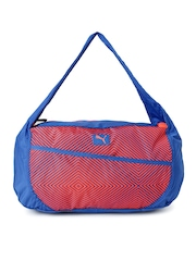 PUMA Women Blue & Orange Printed Duffel Bag