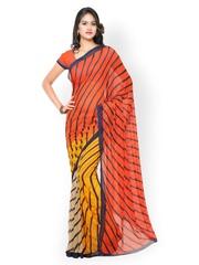 Vaamsi Orange & Yellow Striped Chiffon Printed Saree