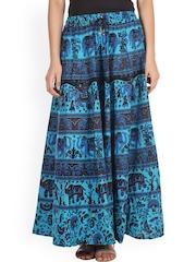 SOUNDARYA Blue Printed Maxi Skirt