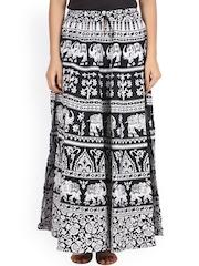 SOUNDARYA Black & White Printed Maxi Skirt