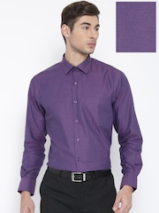 Wills Lifestyle Men Purple Solid Formal Shirt