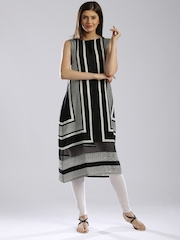 W Black & Off-White Polyester Striped A-Line Kurta