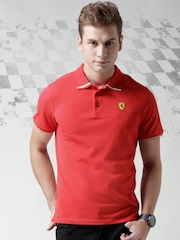 Ferrari Scuderia Red Italian Flag Pique Slim Polo T-shirt