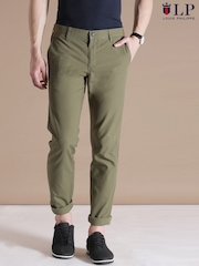 Louis Philippe Sport Olive Green Steven Slim Fit Chino Trousers