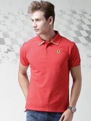 Ferrari Coral Red Italian Flag Pique Polo T-shirt