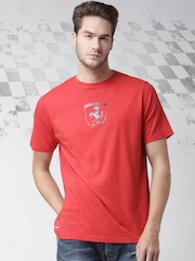 Ferrari Scuderia Men Red Scudetto Carbon Fiber Printed T-shirt
