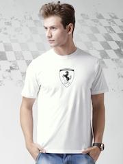 Ferrari Scuderia White SCUDETTO Carbon Fibre Logo Print T-shirt