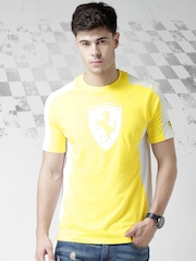 Ferrari Scuderia Yellow Bi-Colour Scudetto Logo Print T-shirt