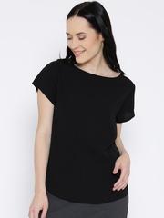 United Colors of Benetton Women Black Solid Regular Top