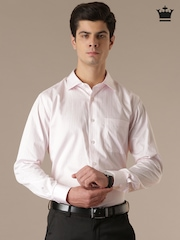 Louis Philippe Pink & White Striped Formal Shirt