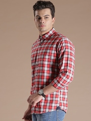 Louis Philippe Jeans Red & White Checked Jermyn Tailored Fit Casual Shirt