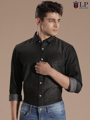 Louis Philippe Jeans Black Union Slim Fit Casual Shirt