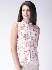 Moda Rapido Women Off-white Floral Print Shirt Style Top