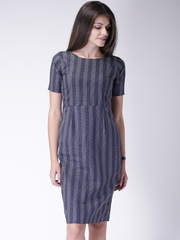 Moda Rapido Women Navy Printed Sheath Dress