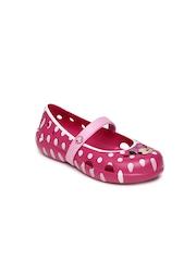 Crocs Girls Pink Polka Dot Print Sandals