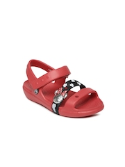 Crocs Girls Red & Black Printed Sandals